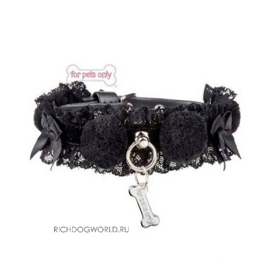"SP-C06 Ошейник черный ""For Pets Only - Black Pom Pom Collar"" (Италия)"