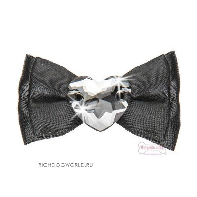 "AI2017-J7 Заколка черная ""For Pets Only - Heart Bow Black Satin Hairclip"""