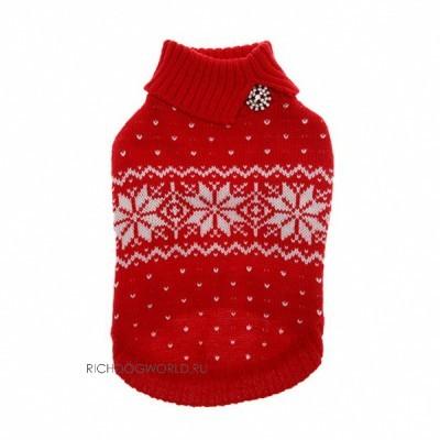 "041 PA-SW Свитер для собак, красный  ""Snowflake Rhinestone Sweater "".  Магазин.  Свитерок для собак выполнен из..."