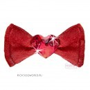 "AI2017-J8 Заколка красная ""For Pets Only - Heart Bow Red Satin Hairclip"" (Италия)"